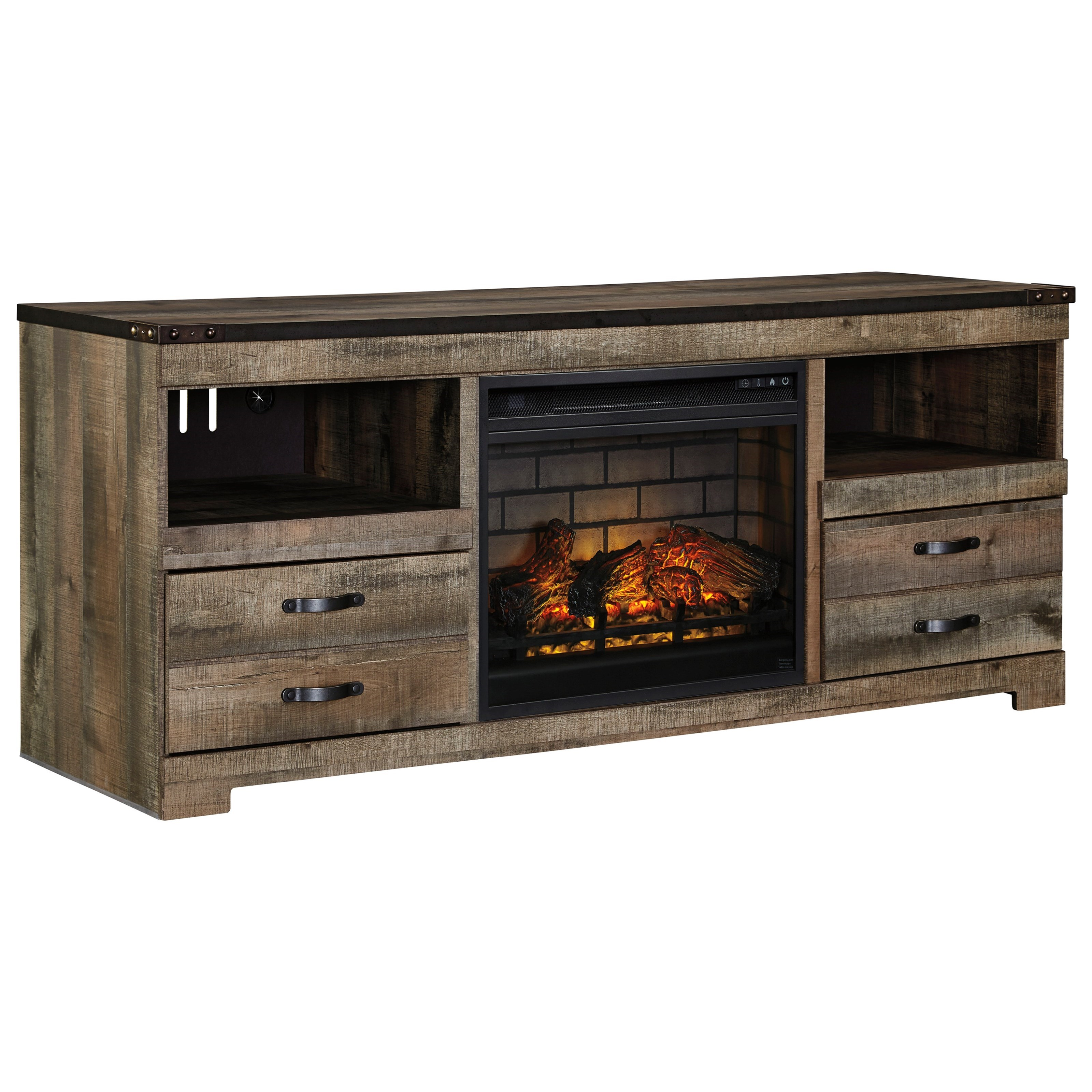Trinell Large TV Stand with Fireplace Insert by Signature Design by Ashley at Darvin Furniture