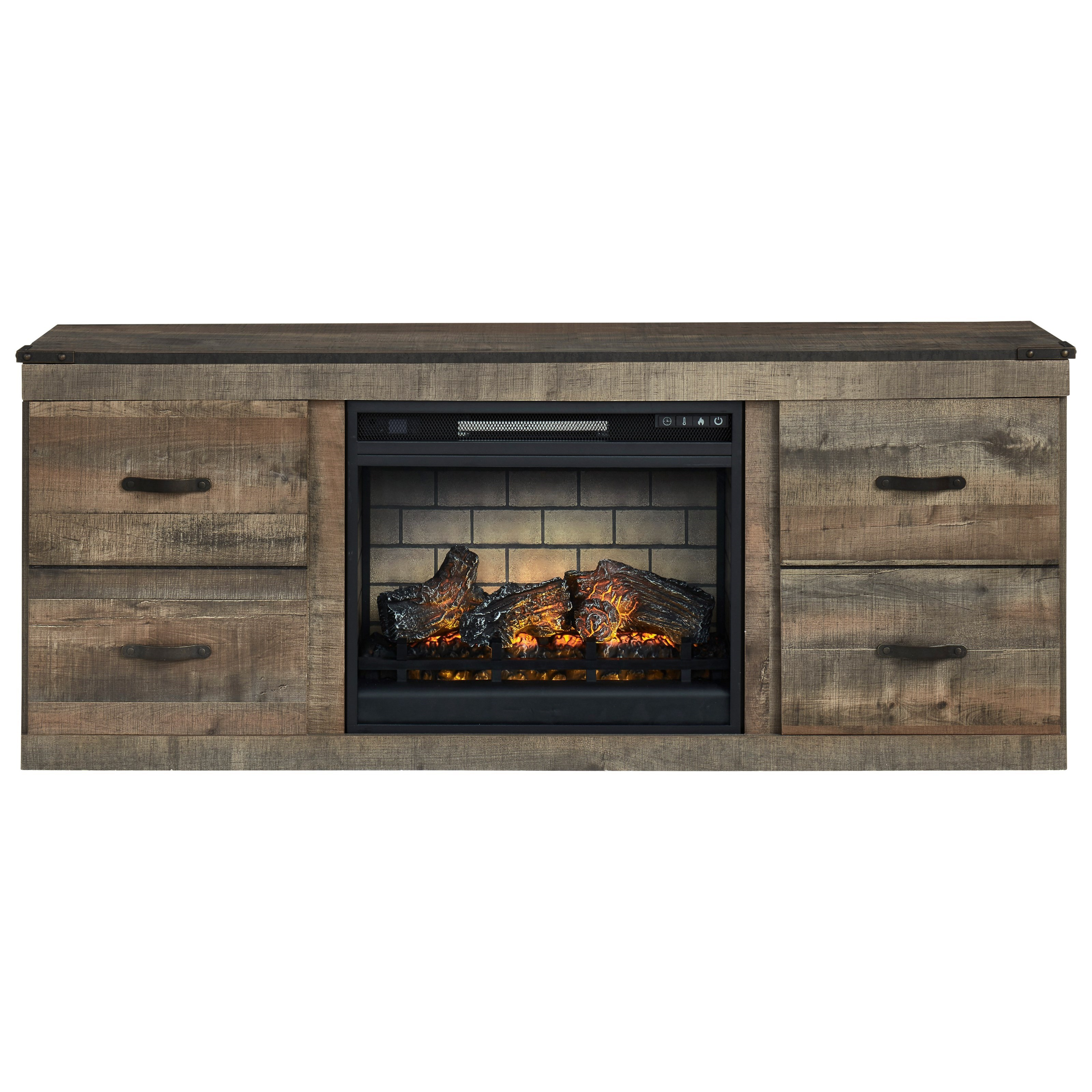 Trinell Large TV Stand w/ Fireplace Insert by Ashley (Signature Design) at Johnny Janosik