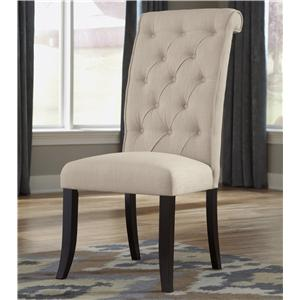 Dining Upholstered Side Chair with Button Tufting and Roll Back Design