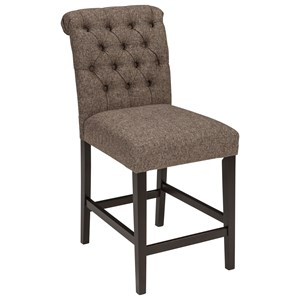 Upholstered Barstool in Graphite Textured Fabric