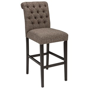 Tall Upholstered Barstool in Graphite Textured Fabric