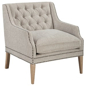 Tufted Back Accent Chair with Nailhead Trim