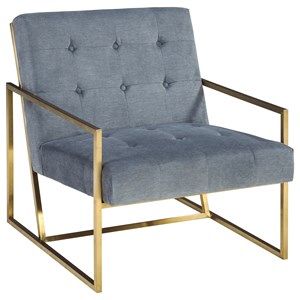 Gold Finish Metal Arm Accent Chair with Velvet Fabric