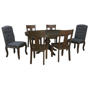 Signature Design by Ashley Trudell 7-Piece Oval Dining Table Set
