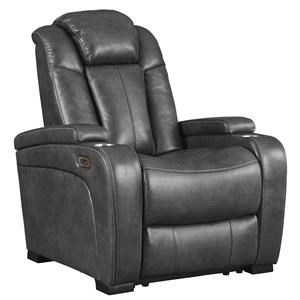 Three Quarry Faux Leather Power Recliner with Adjustable Headrest Set