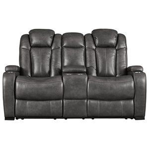 Contemporary Faux Leather Power Reclining Loveseat w/ Console & Power Headrests