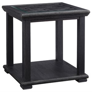 Square End Table with Framed Lattice Detail & Glass Top