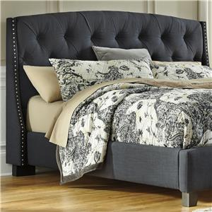 King/California King Upholstered Headboard in Dark Gray with Tufting and Nailhead Trim