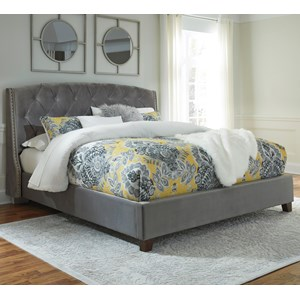 Queen Upholstered Bed in Gray Velvet