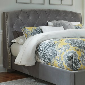 King/California King Upholstered Headboard in Gray Velvet