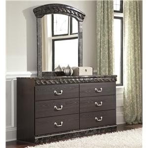 Traditional Dresser & Bedroom Mirror with Faux Marble Trim