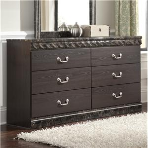 Traditional 6-Drawer Dresser with Faux Marble Trim