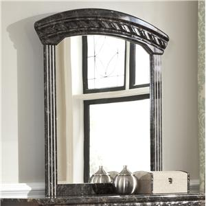 Arched Bedroom Mirror with Faux Marble Trim