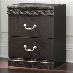 Traditional Two Drawer Night Stand with Faux Marble Trim