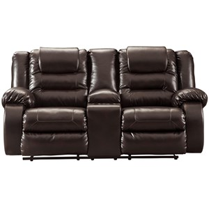 Casual Double Reclining Love Seat with Storage Console
