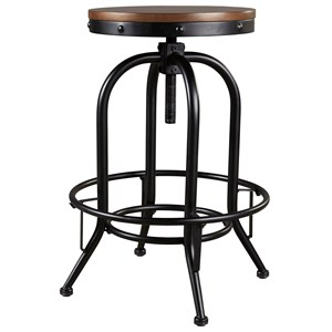 Metal Tall Swivel Barstool with Wood Seat