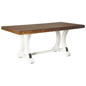 Two-Tone Rectangular Dining Room Table with Leaf