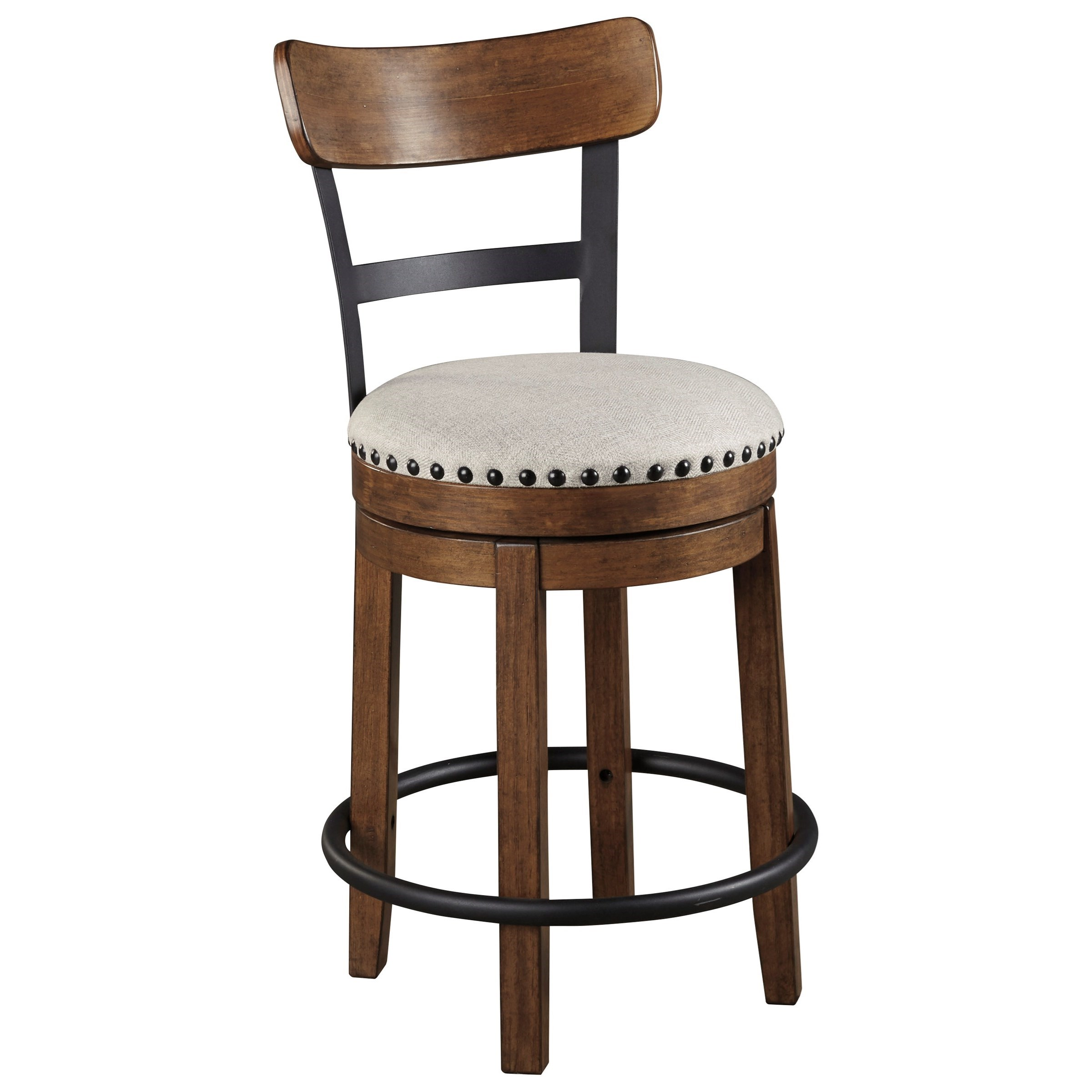 Valebeck Counter Height Upholstered Swivel Barstool by Signature Design by Ashley at Beck's Furniture