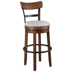 Upholstered Swivel Barstool with Nailhead Trim