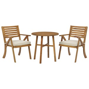 Acacia 3-Piece Bistro Table & Chairs with Cushion Set