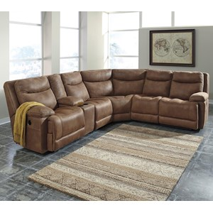 Signature Design by Ashley Valto Power Reclining Sectional w/ Storage Console