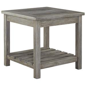 Square End Table with Ceramic Tile Top and Slat Shelf