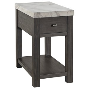 Chair Side End Table with White Marble Look Top and Built-in Outlets/USB Charging