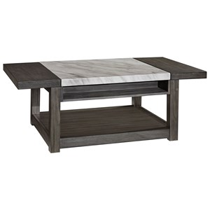 Rectangular Lift Top Cocktail Table with White Marble Look Top and Casters