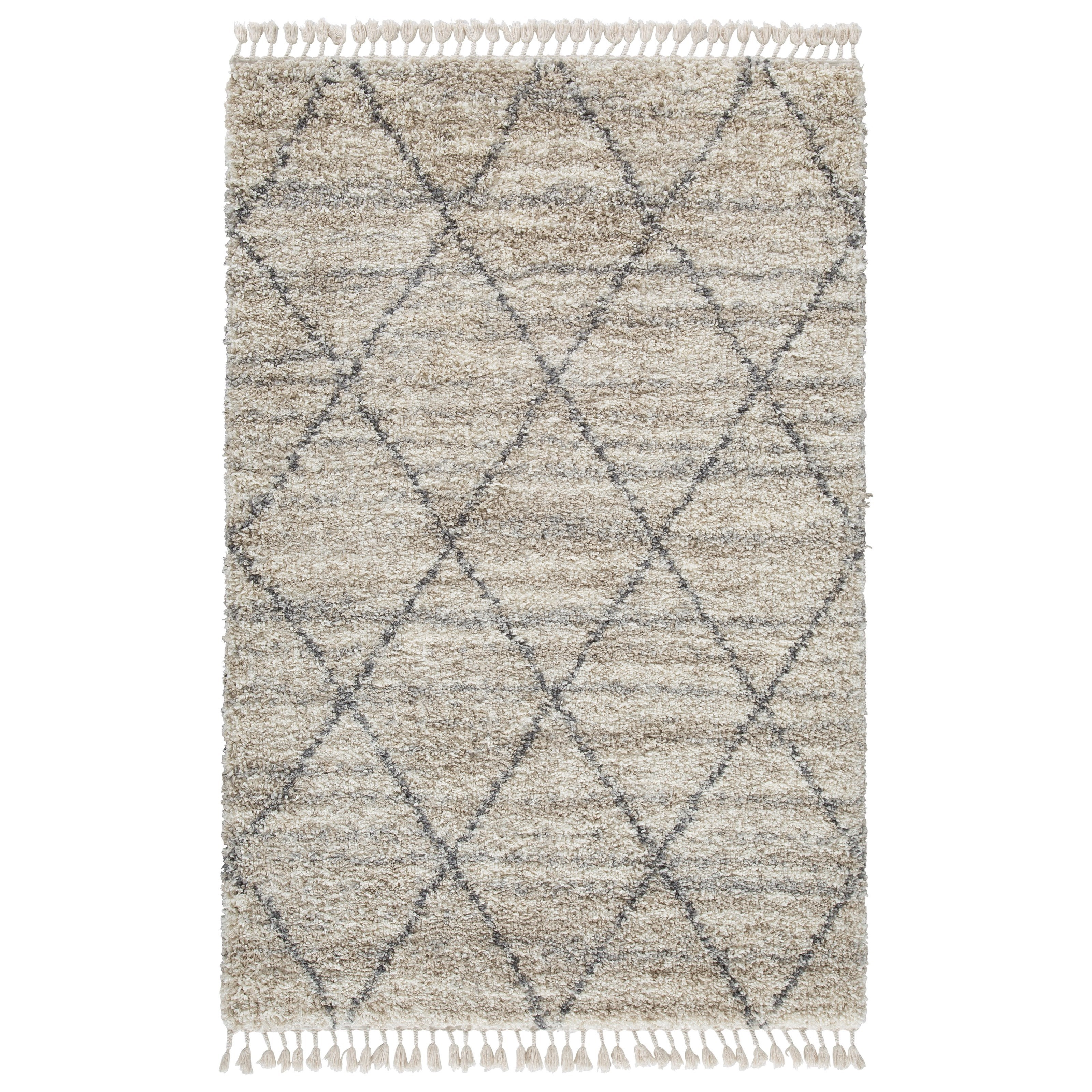 Casual Area Rugs Abdalah Gray/Cream Large Rug by StyleLine at EFO Furniture Outlet