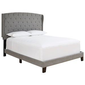 Queen Upholstered Bed with Gray Fabric Tufted Wing Back Headboard