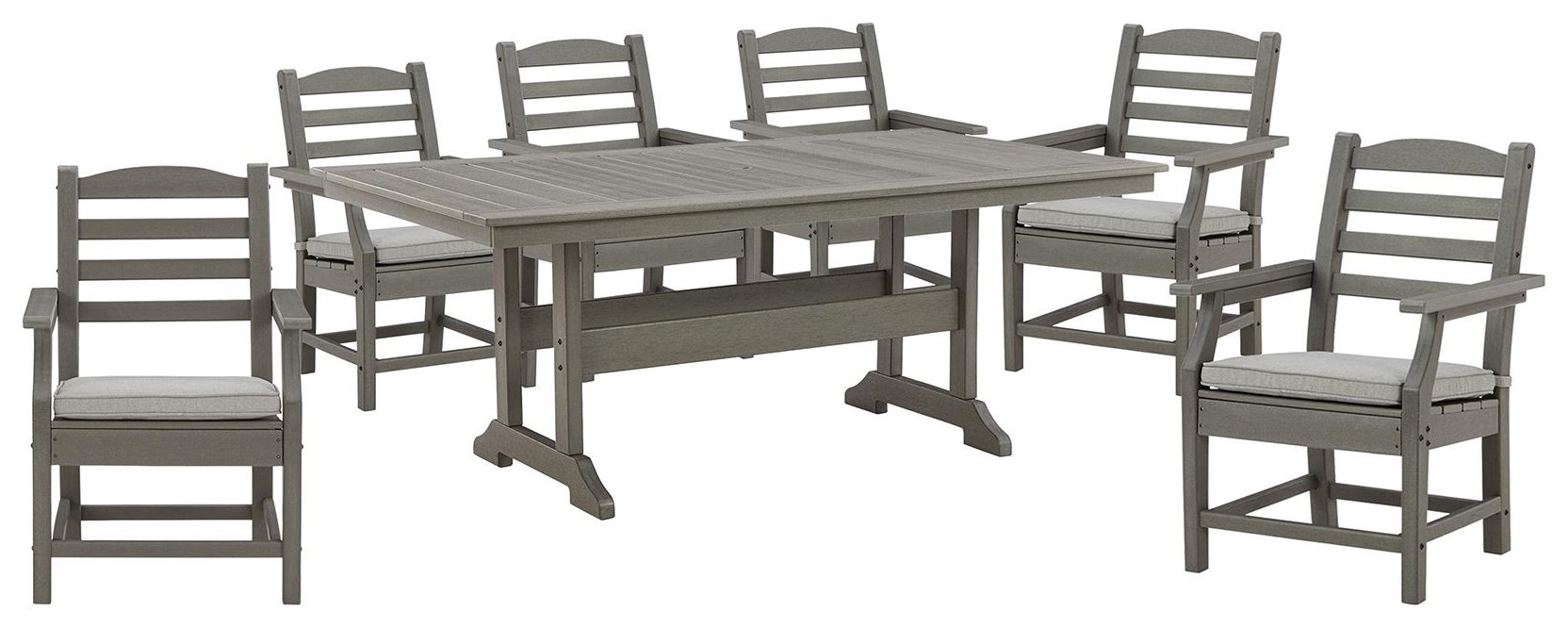 """Visola 42"""" x 72"""" Table and 6 Arm Chairs by Ashley (Signature Design) at Johnny Janosik"""