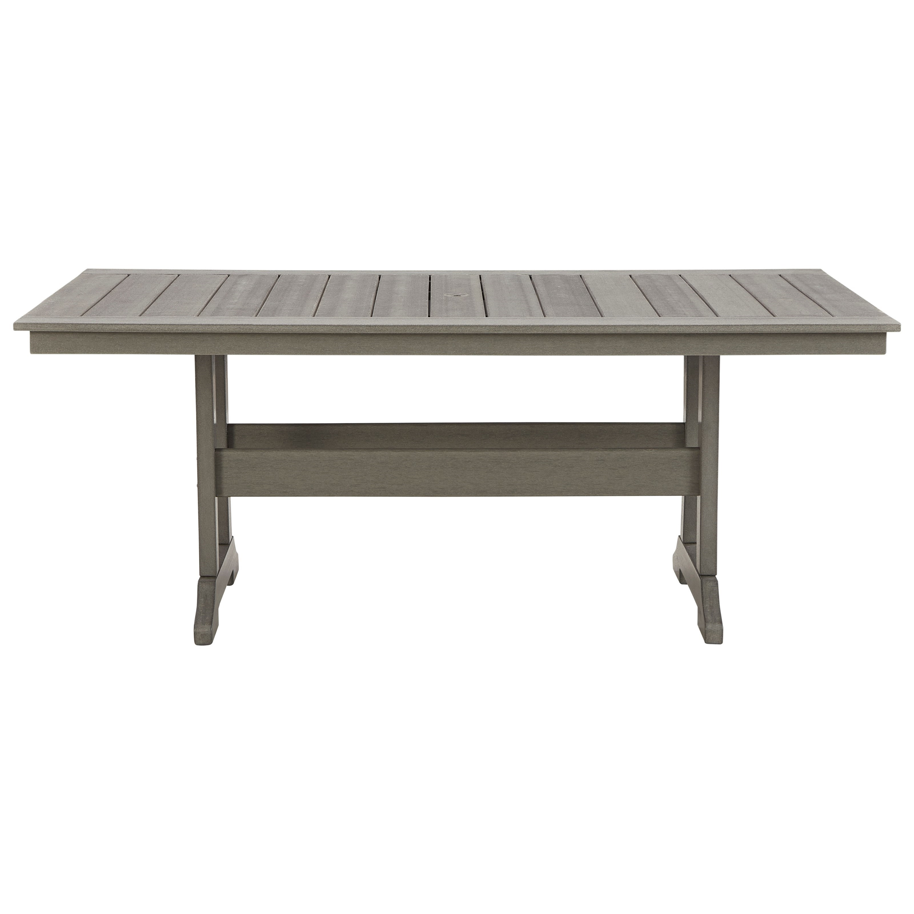 Visola Rectangular Dining Table w/ Umbrella Option by Signature at Walker's Furniture