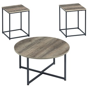 Rustic Contemporary 3-Piece Occasional Table Set with Metal Frame Bases