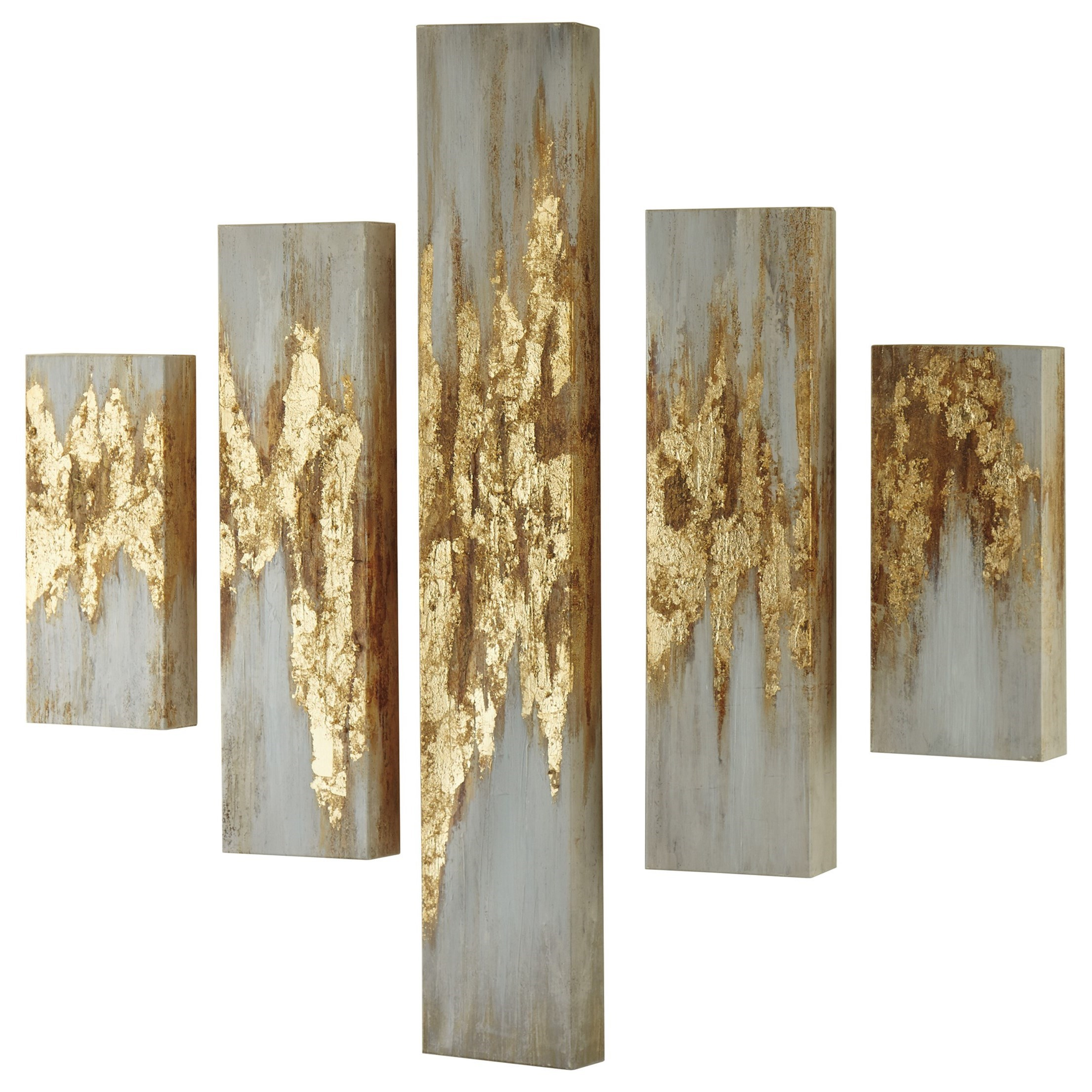Wall Art Devlan Gold Finish/White Wall Art Set by Signature at Walker's Furniture