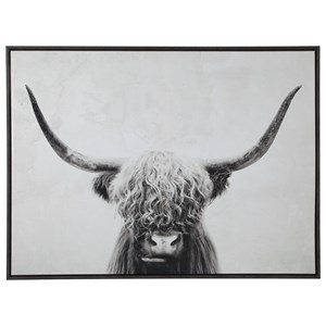 Pancho Black/White Highland Cow Wall Art