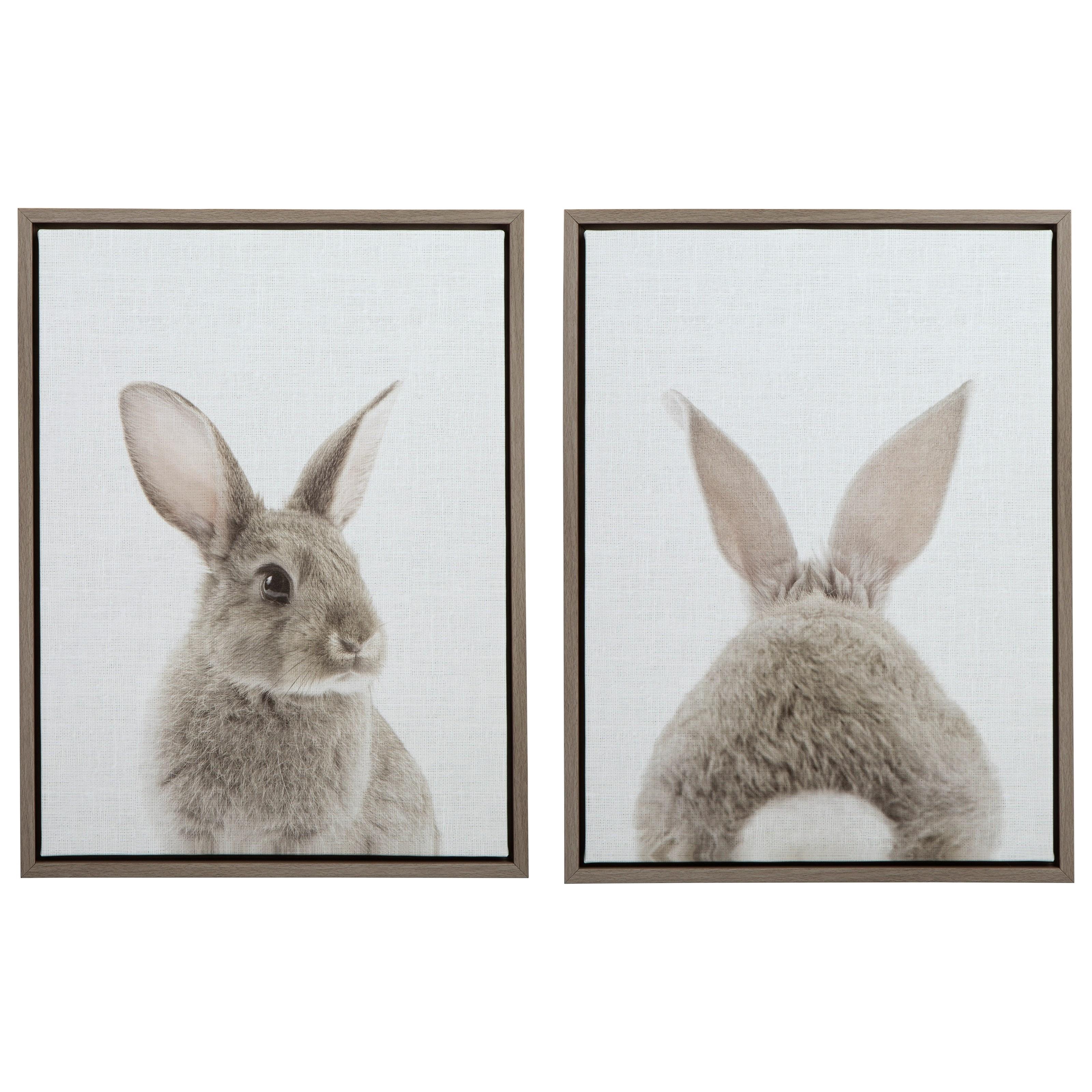 Wall Art Wittley Gray/Tan Bunnies Wall Art Set at Van Hill Furniture