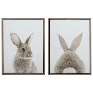 Wittley Gray/Tan Bunnies Wall Art Set