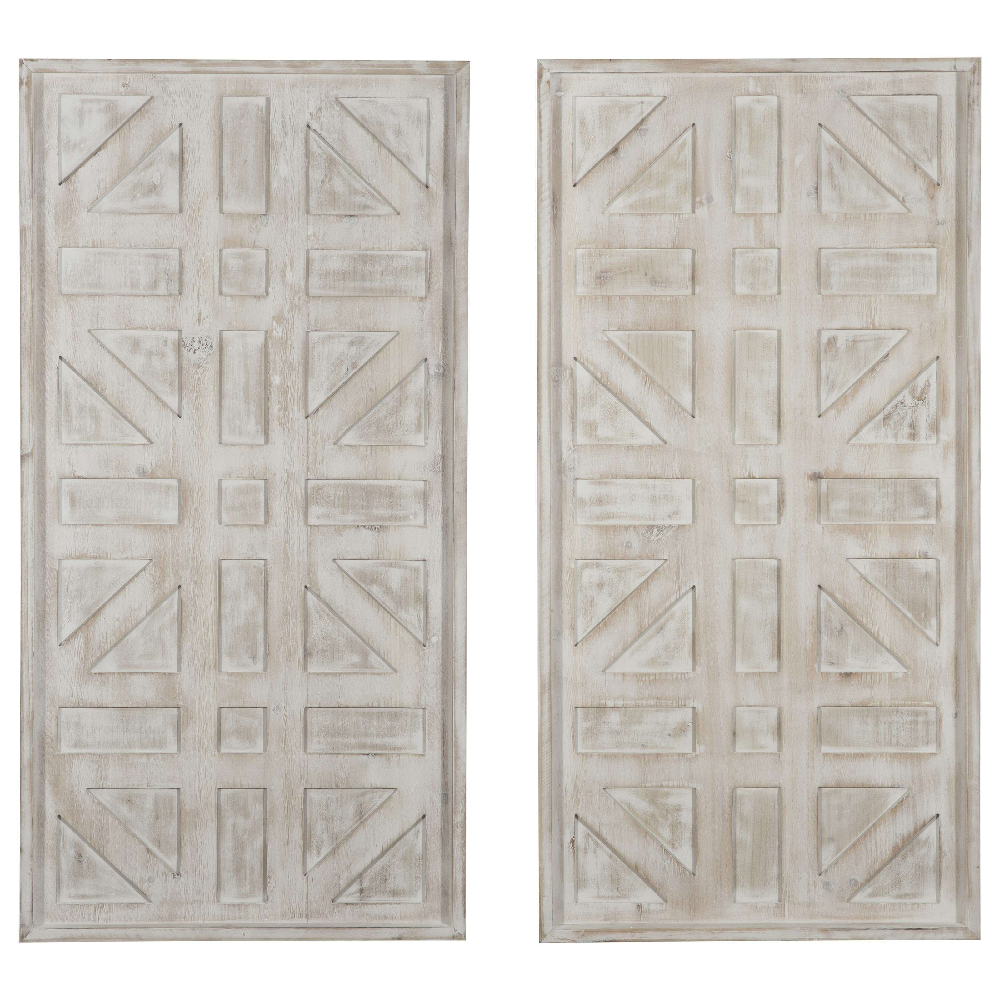 Wall Art Dubem Antique White Wall Decor Set by Signature Design by Ashley at Lapeer Furniture & Mattress Center