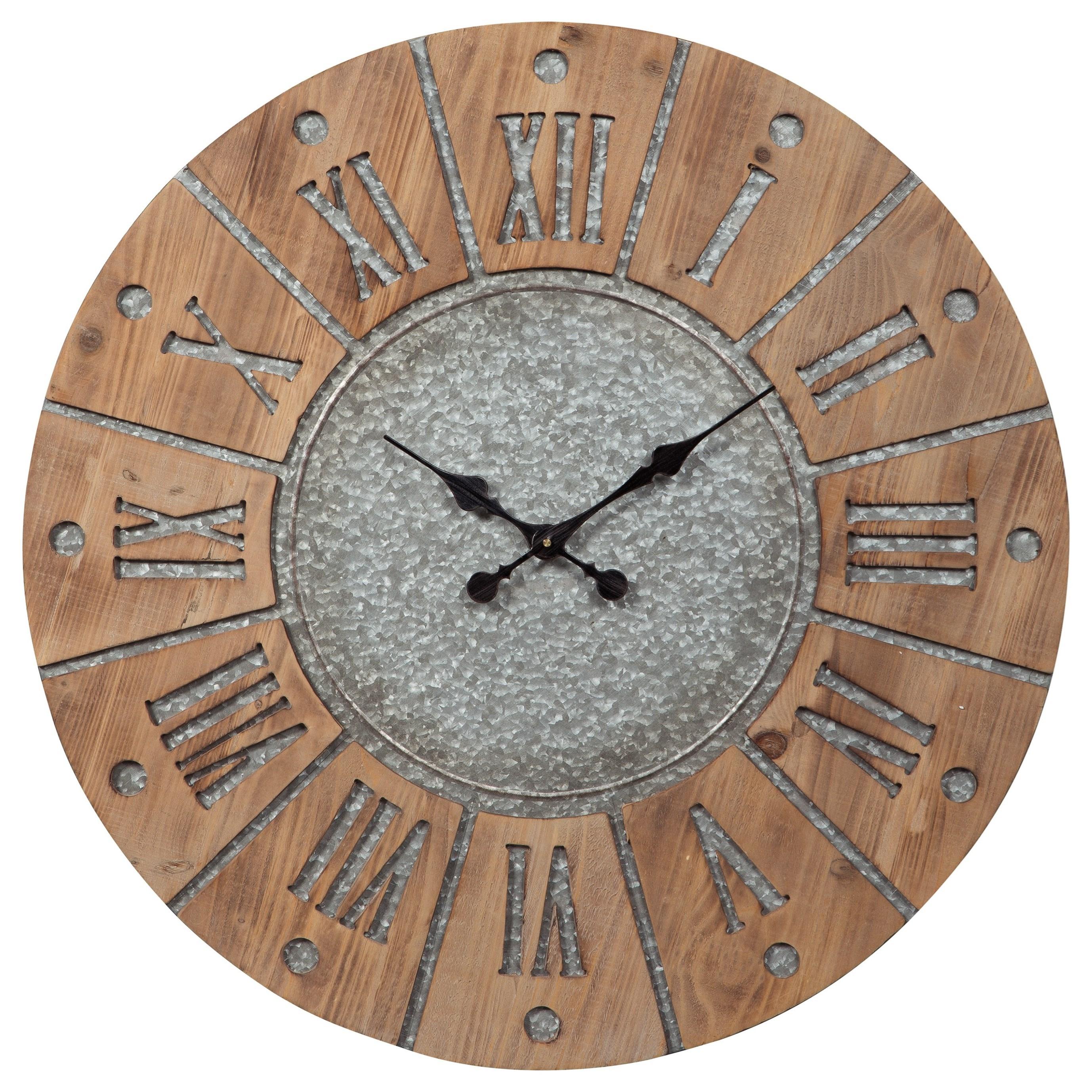 Wall Art Payson Antique Gray/Natural Wall Clock by Ashley (Signature Design) at Johnny Janosik