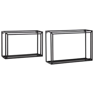 Ehren Black Wall Shelf Set