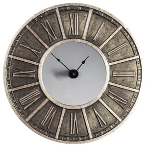 Peer Champagne/Black Wall Clock with Mirror Face