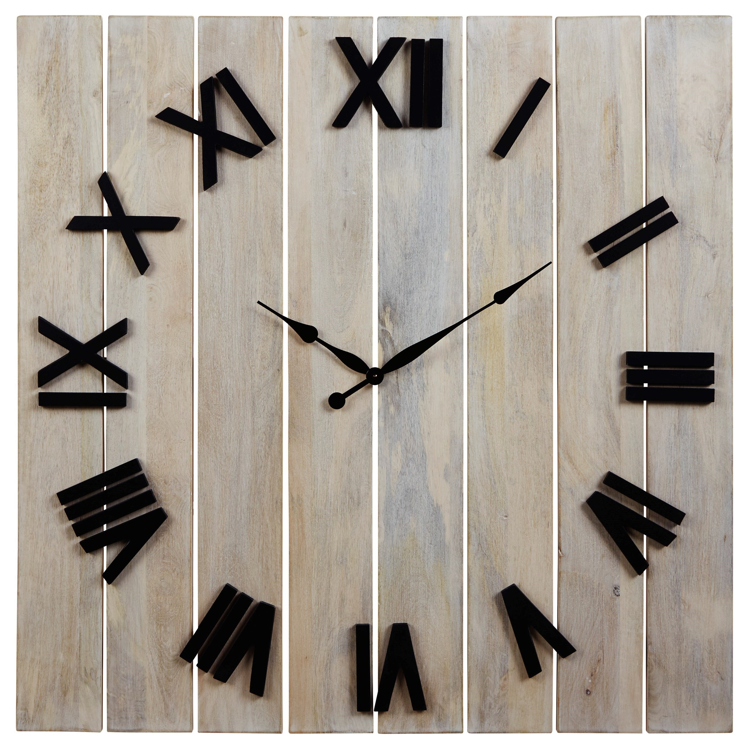 Wall Art Bronson Whitewash/Black Wall Clock by Signature Design by Ashley at Zak's Warehouse Clearance Center