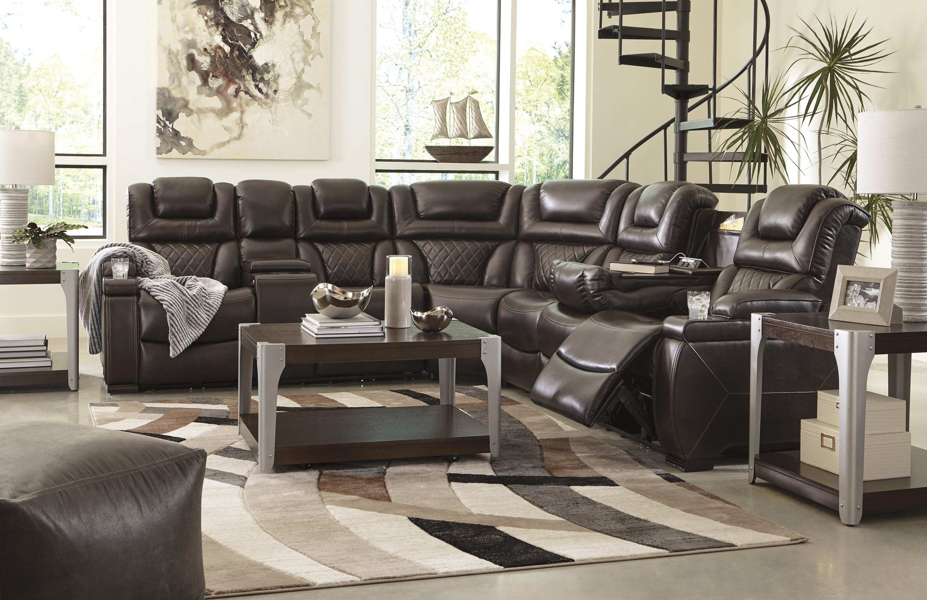 3 PC Power Headrest Sectional and Recliner S