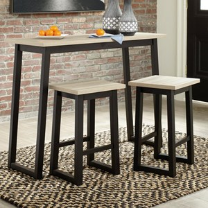 Casual Rectangular Counter Table Set with 2 Stools