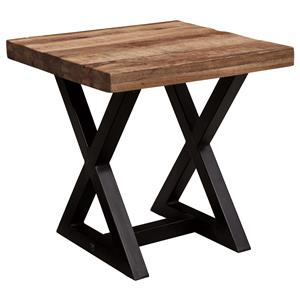 Square End Table with Mango Wood Top & Metal X-Braced Base