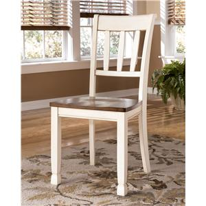 Dining Room Side Chair w/ Two-Tone Finish & Slat Back