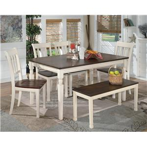 6-Piece Rectangular Table Set with Bench