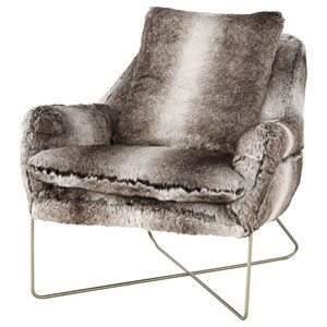 Faux Fur Accent Chair with Gold Finished X Base
