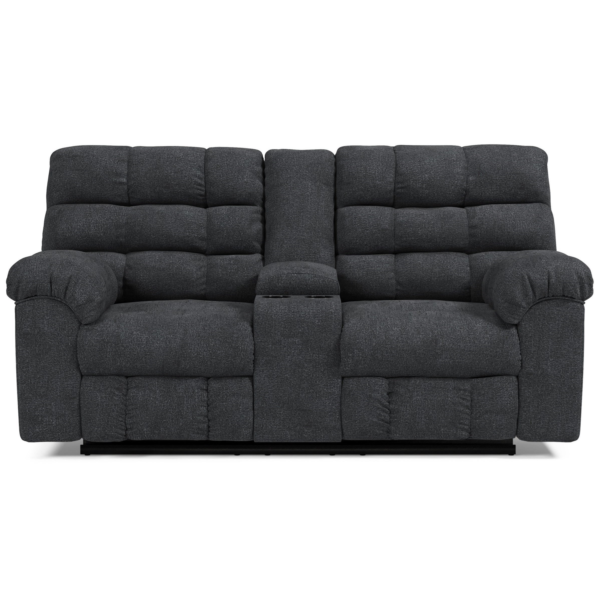 Wilhurst Double Reclining Loveseat w/ Console by Ashley (Signature Design) at Johnny Janosik