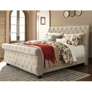 King Upholstered Sleigh Bed with Tufting